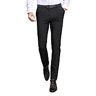 Homme Mince Costume / Mince / Entreprise Pantalon - Couleur Pleine Noir / Travail