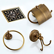 cheap Antique Bronze Series-Bathroom Accessory Set Towel Ring Toilet Paper Holder Robe Hook Drain Towel Warmer Antique Brass 19 23 Towel Ring Toilet Paper Holder