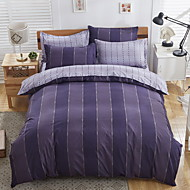 Bedtoppings Comforter Duvet Quilt Cover 4pcs Set Queen Size Flat Sheet Pillowcase Dark Stripe Prints Microfiber