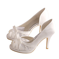 cheap Women's Sandals-Women's Shoes Stretch Satin Spring / Summer Sandals Stiletto Heel Bowknot White / Ivory / Wedding / Party & Evening / Party & Evening