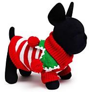 Kat Hund Bluser Hundetøj Bomuld Forår/Vinter Vinter Ferie Hold Varm Jul Stribe Hvid Rød Grøn For kæledyr