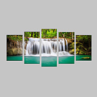 5 Panels Summer Green Trees and Waterfalls Landscape Canvas Print Art for Office Decoration Unframed