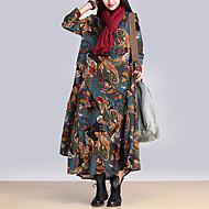 Feminino Solto Vestido,Casual Boho Estampado Decote Redondo Longo Manga Longa Azul / Vermelho / Cinza / Amarelo Algodão OutonoCintura