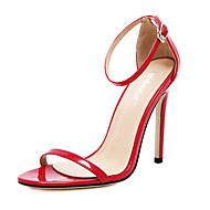 Χαμηλού Κόστους ZUUCEE®-Γυναικεία Παπούτσια Δέρμα / PVC Άνοιξη / Καλοκαίρι Ανατομικό Σανδάλια Τακούνι Στιλέτο Ανοικτή μύτη Αγκράφα Μαύρο / Κόκκινο / Αμύγδαλο