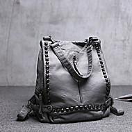 Women Bags All Seasons PU Sheepskin Shoulder Bag with Rivet for Shopping Casual Outdoor Black Gray