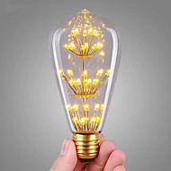 Χαμηλού Κόστους LED Λάμπες με Νήμα Πυράκτωσης-1pc 3W 200lm E26 / E27 LED Λάμπες Πυράκτωσης ST64 47 LED χάντρες COB Με ροοστάτη Έναστρος Διακοσμητικό Θερμό Λευκό 220-240V