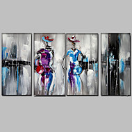 מצויר ביד מופשט / אנשים / ציור אבסטרקט ציורי שמן,מודרני / ים- תיכוני ארבעה פנלים בד ציור שמן צבוע-Hang For קישוט הבית
