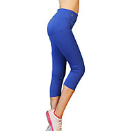 Women's Black, Blue, Grey Sports Solid Colored, Fashion Spandex 3/4 Tights / Bottoms Yoga, Pilates, Climbing Activewear Quick Dry, Breathable, Compression High Elasticity