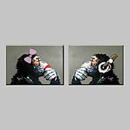 billiga Djurporträttmålningar-HANDMÅLAD Popkonst Horisontell, Klassisk Traditionell Hang målad oljemålning Hem-dekoration Två paneler