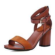 levne Výprodej-Dámské Boty Kůže Léto Sandály Kačenka Platformy Otevřený palec Pro Ležérní Černá Hnědá