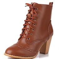 Feminino-Botas-Plataforma Inovador Botas de Cowboy Botas de Neve Botas Montaria Botas da Moda-Salto Grosso Plataforma-Preto Marrom