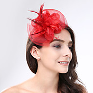 abordables Tiaras boda/novia-Pluma Red Fascinators Para la Cabeza with Flor 1pc Boda Ocasión especial Celada