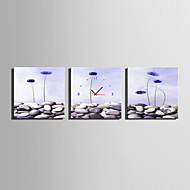 MINI SIZE E-HOME Light Purple Flowers Clock in Canvas 3pcs