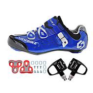 SIDEBIKE للبالغين أحذية لركوب الدرجات مزودة ببدال وماسك / Road Bike Shoes نايلون توسيد ركوب الدراجة أبيض / أسود /أزرق للرجال