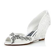 baratos Sapatos Femininos-Mulheres Seda Primavera / Verão / Outono Conforto Sandálias Salto Plataforma Corrente Ivory / Casamento / Festas & Noite