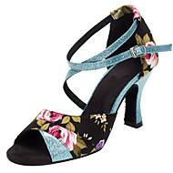 baratos Sapatilhas de Dança-Mulheres Sapatos de Dança Latina / Sapatos de Salsa Glitter / Cetim Sandália / Salto Gliter com Brilho / Presilha / Flor Salto / Interior