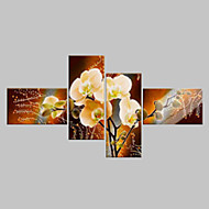 cheap -Oil Painting Hand Painted - Floral / Botanical Classic Modern Four Panels