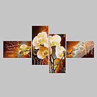 Χαμηλού Κόστους Τέχνη Τοίχου-Hang-ζωγραφισμένα ελαιογραφία Ζωγραφισμένα στο χέρι - Άνθινο / Βοτανικό Κλασσικό / Μοντέρνα Πίνακας Μόνο / Τετράπτυχα / Κυλινδρικός καμβάς