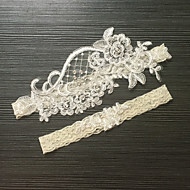 cheap Wedding Garters-Lace Stretch Satin Classic Fashion Wedding Garter with Imitation Pearl Flower Garters