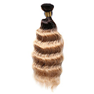 Echt haar Indiaas haar Ombre Diepe golf Haarextensions 1 Stuk Medium Brown / Strawberry Blonde