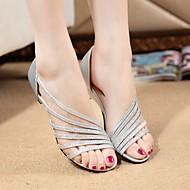 Γυναικείο Παπούτσια PU Καλοκαίρι Ανατομικό Σανδάλια Περπάτημα Επίπεδο Τακούνι Για Ασημί Βυσσινί Χρυσαφί