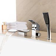 Современный Римская ванна Водопад Ручная лейка входит в комплект with  Керамический клапан Одной ручкой три отверстия for  Хром ,