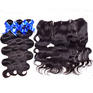13X4 Ear To Ear Peruvian Lace Frontal Closure with Weft Hair Bundles Human Hair Lace Frontals with Baby Hair