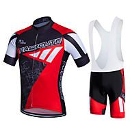 Fastcute Herre Dame Kortærmet Cykeltrøje og shorts med seler Cykel Tights Med Seler Tøjsæt, 3D Måtte, Hurtigtørrende, Åndbart,
