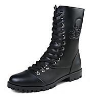 Χαμηλού Κόστους Shoes Trends-Γυναικεία παπούτσια-Μπότες-Καθημερινά-Επίπεδο Τακούνι-Στρογγυλή Μύτη / Άρβιλα-PU-Μαύρο
