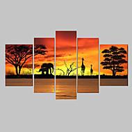 billiga Landskapsmålningar-Hang målad oljemålning HANDMÅLAD - Abstrakt Klassisk / Traditionell Endast Målning / Fem paneler