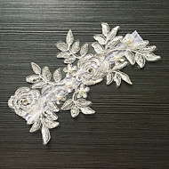 Jartiyer Streç Saten Dantel Kwiat İmitasyon İnci Beyaz Gri
