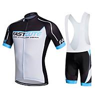 Fastcute Herre Dame Kortærmet Cykeltrøje og shorts med seler - Sort Cykel Shorts med seler Tights Med Seler Trøje Tøjsæt, 3D Måtte,