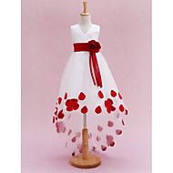 Princess Extra dlouhá vlečka Šaty pro květinovou družičku - Satén / Tyl Bez rukávů Do V s Šerpa / Stuha / Květiny / Sklady podle LAN TING BRIDE®