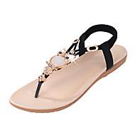 Damer Sandaler Komfort PU Sommer Afslappet Komfort Krystal Elastik Flad hæl Sort Beige Blå Flad