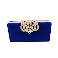 baratos Clutches & Bolsas de Noite-Mulheres Bolsas Veludo Bolsa de Festa Cristal / Strass Sólido Camel / Vinho / Azul Real