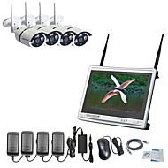 baratos Kits NVR-strongshine® 4ch h.264 sem fio nvr com tela de 12,5 polegadas e 960p impermeável / infravermelho wi-fi câmera ip kits de sistema de vigilância