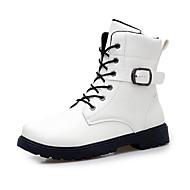 お買い得  メンズブーツ-男性用 靴 マイクロファイバー 春 秋 コンバットブーツ コンフォートシューズ ブーツ ウォーキング 編み上げ のために カジュアル ホワイト ブラック