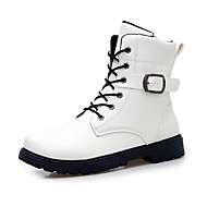 billige -60%-Herre-Mikrofiber-Flat hæl-Komfort-Støvler-Fritid-Svart Hvit