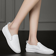 cheap Women's Slip-Ons & Loafers-Women's Shoes Leather Spring Fall Comfort Loafers & Slip-Ons Flat Heel for Casual White Black