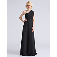 cheap Under $90 Bridesmaid Dresses-Sheath / Column One Shoulder Floor Length Chiffon Bridesmaid Dress with Side Draping / Ruched by LAN TING BRIDE®