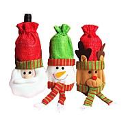 クリスマスの赤い飾り古いワインバッグは、ホームパーティーのテーブルデコレーション用のサンタクロースヘラジカの雪だるまのデザインボトル