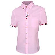Masculino Camisa Casual Simples Primavera / Outono,Sólido / Estampado Azul / Rosa / Vermelho / Branco Algodão Colarinho de CamisaManga