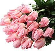 baratos -12pcs/Set 12 Ramo Plástico / Toque real Rosas Flor de Mesa Flores artificiais 23.6 inch