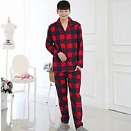Homens Pijamas, Grossa Xadrez Algodão Vermelho