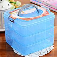 caixa de armazenamento de três camadas transparentes para as pequenas coisas decorar jóias (cores aleatórias)