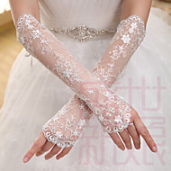 cheap Wedding Gloves-Lace Elbow Length Glove Bridal Gloves With Embroidery