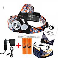 お買い得  フラッシュライト/キャンプ用ランタン-U'King ZQ-X824 ヘッドランプ ヘッドライト LED 4000 lm 4.0 モード LED バッテリー、充電器、アダプター付き 充電式 コンパクトデザイン 小型 ハイパワー キャンプ/ハイキング/ケイビング 狩猟 旅行 多機能 登山 屋外 釣り