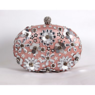cheap Clutches & Evening Bags-Women's Bags Satin Evening Bag Beading / Sequin / Crystal / Rhinestone Floral Print Screen Color