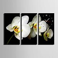 Moderne / Nutidig Blomst / Botanikk Wall Clock,Rektangulær Lerret 30 x 60cm(12inchx24inch)x3pcs/ 40 x 80cm(16inchx32inch)x3pcs Innendørs