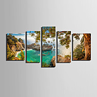 E-HOME® Coastal Scenery Clock in Canvas 5pcs